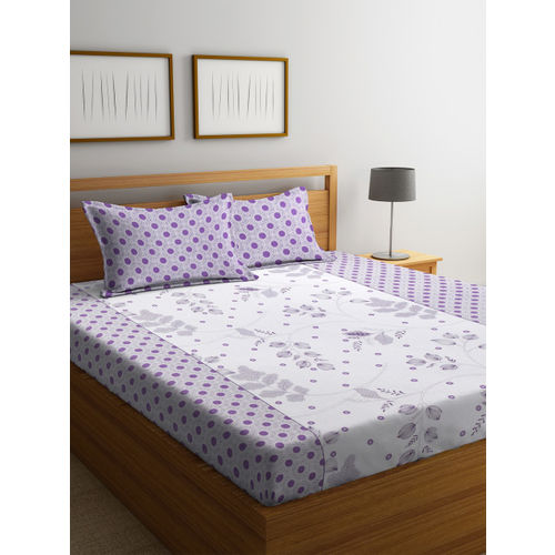 Cortina Purple & White Ethnic Motifs Flat 120 TC Cotton 1 Queen Bedsheet with 2 Pillow Covers