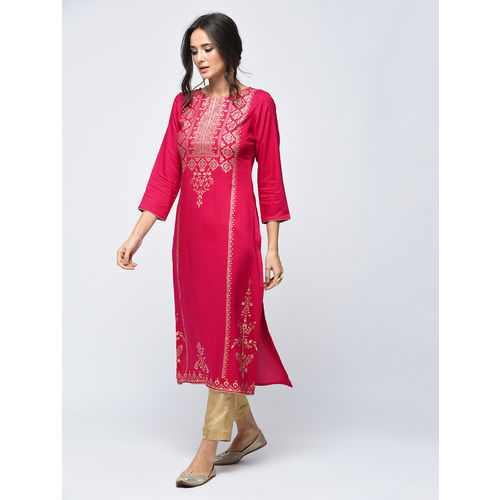 Pinky Pari Foil Printed Straight Fit Rayon Pink Color Kurta