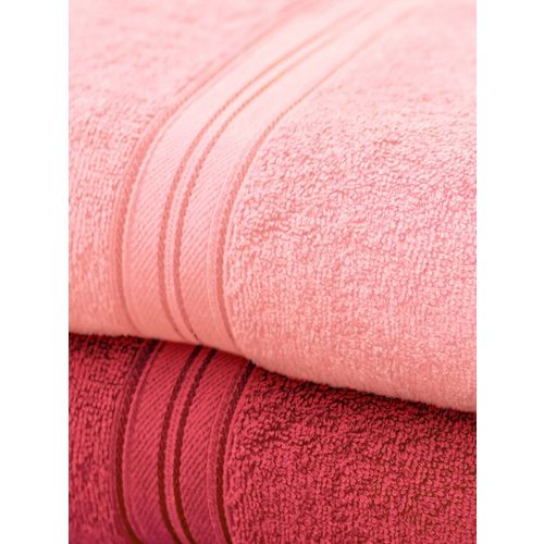 swiss republic Set of 2 Red & Pink Cotton 450 GSM Bath Towels