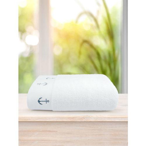 Swiss Republic White Rivera Anchor 600 GSM Bath Towel
