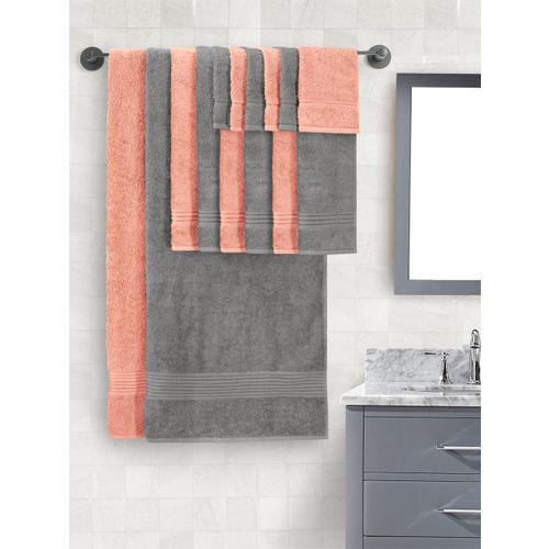 Peach Grey 630 Gsm Bath Towel Set, Peach And Grey Bathroom Accessories