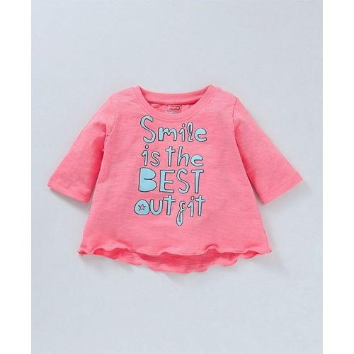 Babyhug Pink Three Fourth Sleeves Tee With Denim Pants