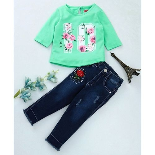 Babyhug Green Three Fourth Sleeves Tee With Denim Pants Floral Print