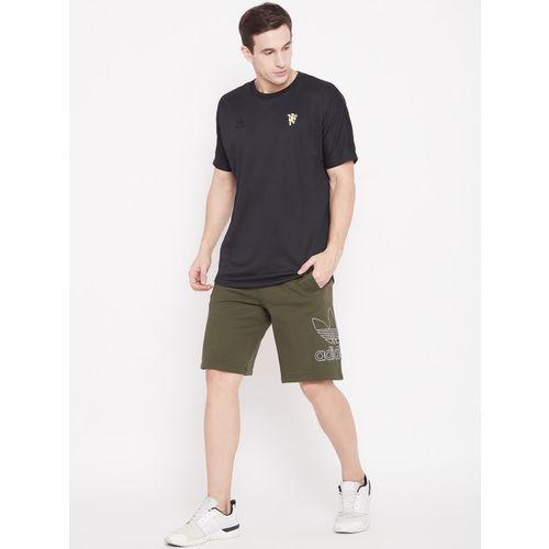 Adidas Black Solid MUFC SSP Football T-shirt