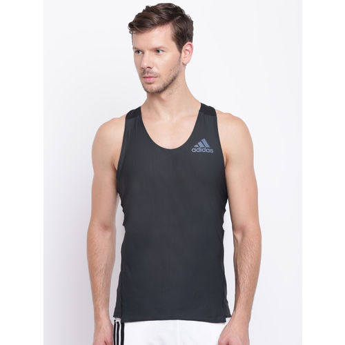 Adidas Men Black Adizero Prime Singlet Solid Round Neck Running T-shirt