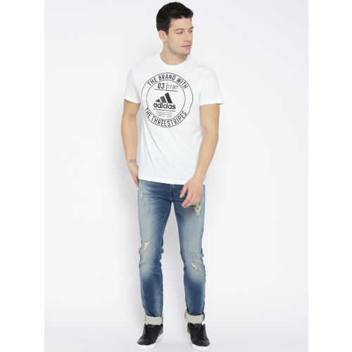 Adidas Men White Badge Printed Round Neck T-shirt