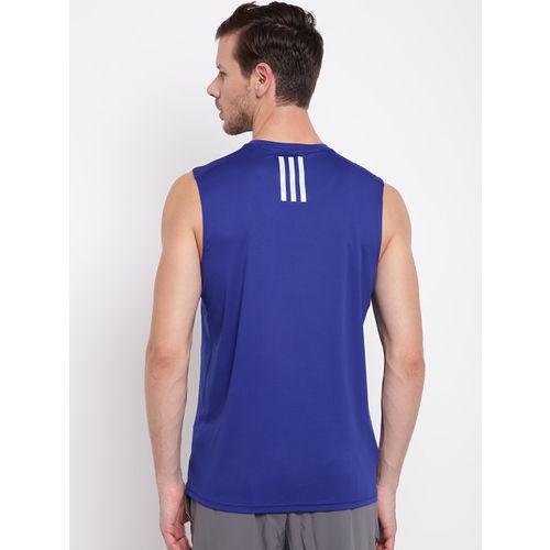 6e595a42 ... Adidas Men Blue Response Sleeveless Self-Design Round Neck Running T- shirt ...