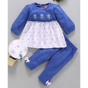 ef957f675a Babyhug Blue White Full Sleeves Knitted Frock Style Top & Leggings Set  Floral Print