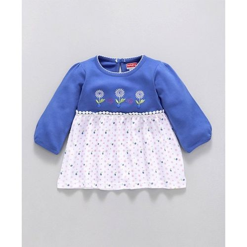 Babyhug Blue White Full Sleeves Knitted Frock Style Top & Leggings Set Floral Print