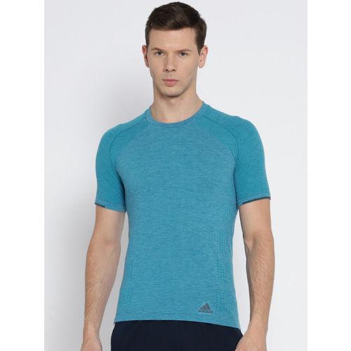 5eceaf554b81 Buy Adidas Men Blue Pknit Self Design Round Neck Running T-shirt ...