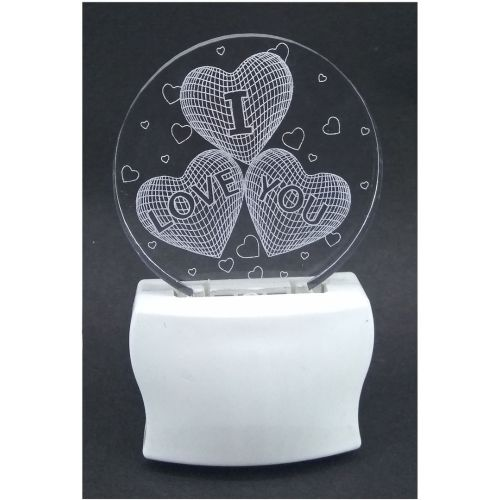 Gkart 3 Heart - I Love You in Round Shape Night Lamp