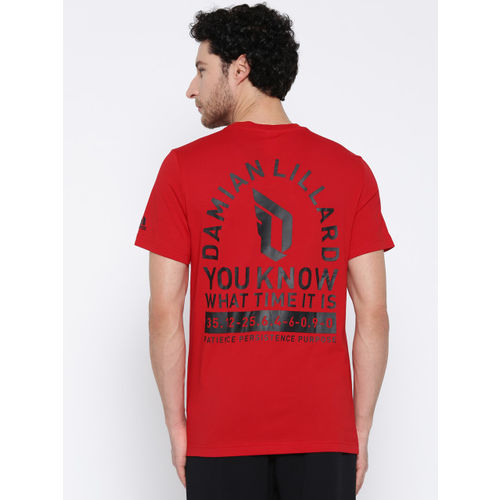 Adidas Red Printed Dame Logo Basketball T-shirt