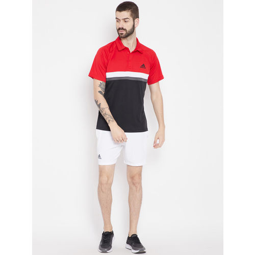 Adidas Red & Black Club Colourblocked Tennis Polo T-shirt