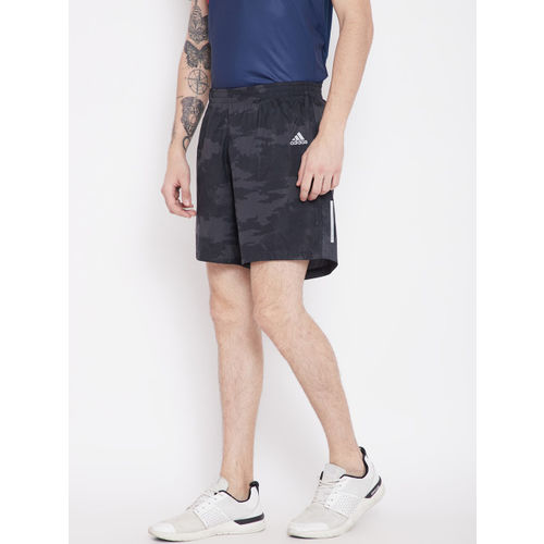 Adidas Men Black & Grey Camouflage Printed Run G Shorts