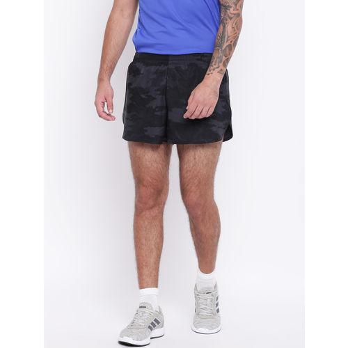 Adidas Men Black & Grey Response Split Camouflage Print Running Shorts