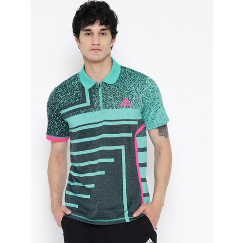 67515441d ... Adidas Men Green & Black Printed Seasonal Tennis Polo T-shirt ...