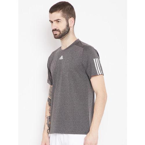 Adidas Men Charcoal Grey Self-Striped ID Stadium 3 Stripes T-shirt