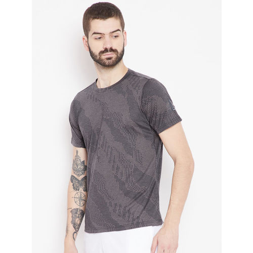 Adidas Men Charcoal Grey & Beige FREELIFT AERO Printed Training T-shirt