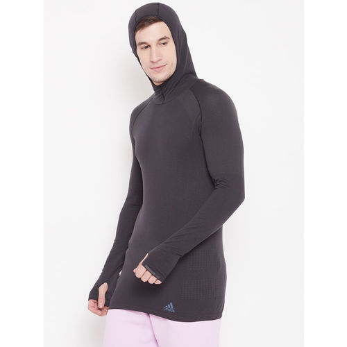 Adidas Charcoal Grey Solid Hooded Ultra T-shirt
