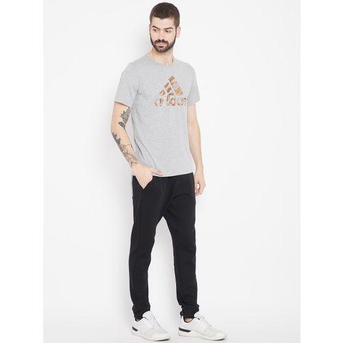 Adidas Men Grey Melange Printed Badge Of Sport Camo T-shirt