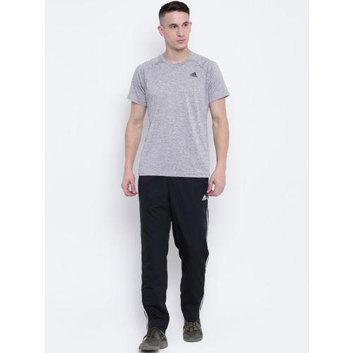 Adidas Men Grey Melange D2M Heathered Training T-shirt