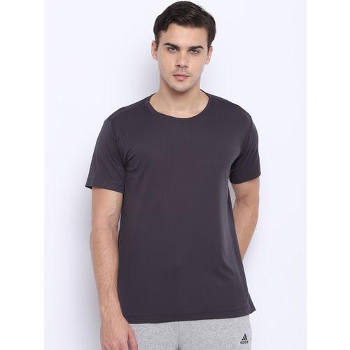 Adidas Men Charcoal Grey Freelift Climachill Solid Training T-shirt