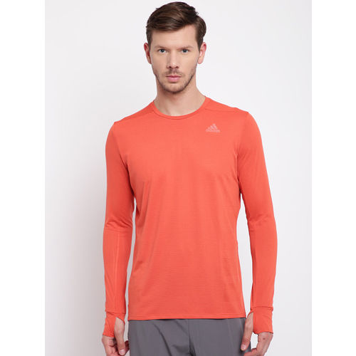 Adidas Men Orange Supernova Solid Round Neck Running T-shirt