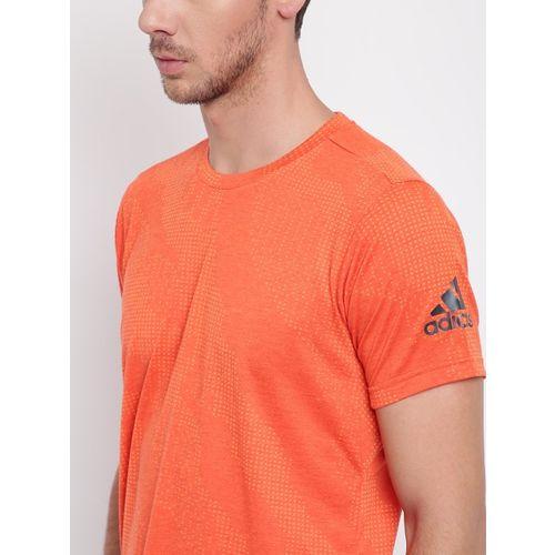 Adidas Men Orange FreeLift Aeroknit Printed Round Neck Training T-shirt