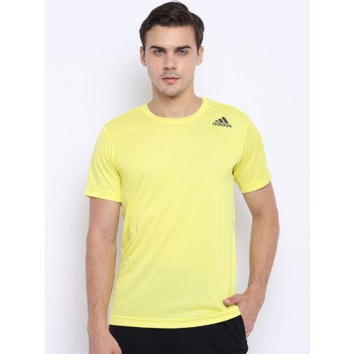 Adidas Men Yellow Freelift Climalite Solid Training T-shirt