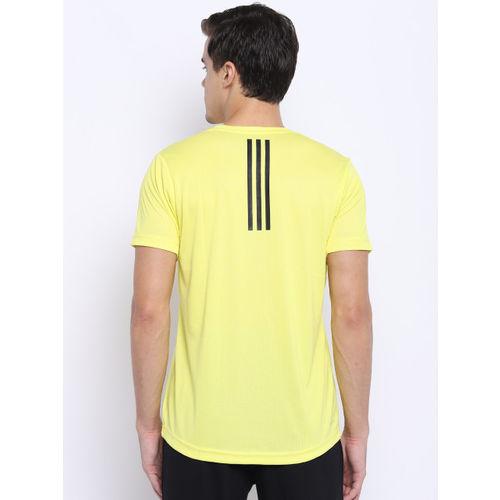 Adidas Men Yellow Freelift Climalite Solid Training T-shirt
