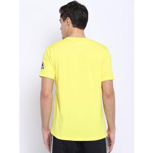 Adidas Men Yellow Freelift Climachill Training T-Shirt
