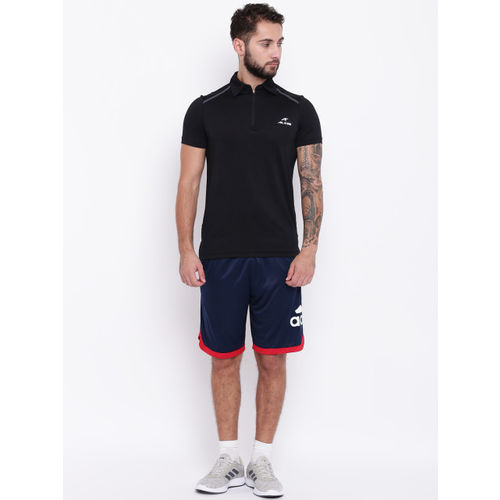 Adidas Men Navy Blue & Red Badge Of Sports Solid Basketball Shorts