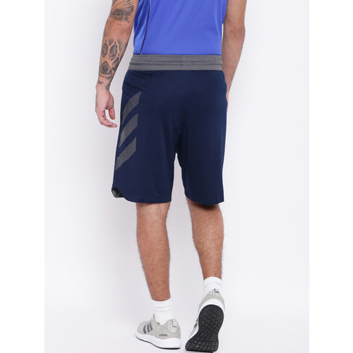 Adidas Men Navy Blue Accelerate 3 Stripes Basketball Shorts