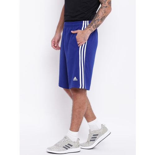 Adidas Men Blue Essentials 3 Stripes Training Shorts