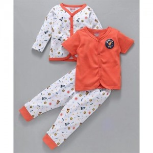 31a292c1 Babyhug Orange & White Cotton Full And Half Sleeves Vests With Lounge Pant  Space Print