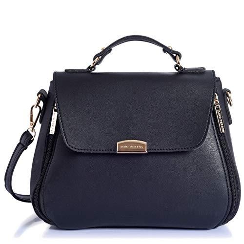 Lino Perros Black Faux Leather Satchel Bag