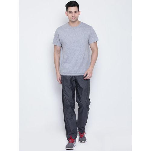 Adidas Men Grey Essentials 3 Stripes Woven Self-Design Track Pants