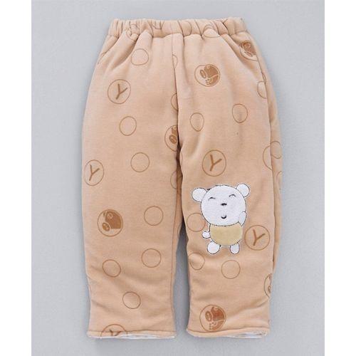 Babyhug  Light Brown Winter Wear Hooded Three Piece Set Paws Patch
