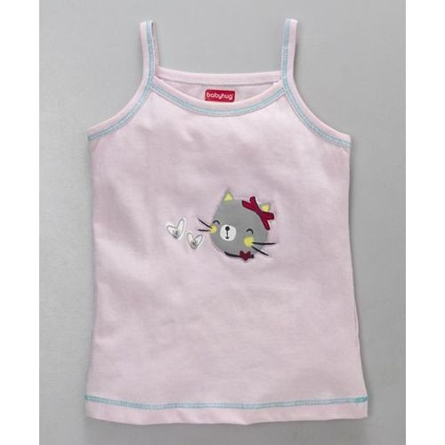 Babyhug Light Pink Singlet Top And Shorts Kitty Embroidery