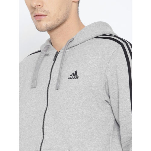 Adidas Men Grey Melange Solid Essentials 3-Stripes FZ B Hooded Sweatshirt