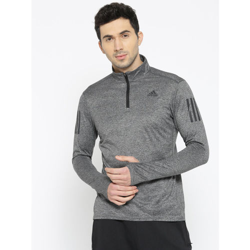 Adidas Men Grey Melange RS ZIP Solid Sweatshirt