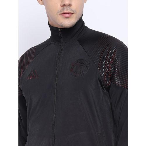 Adidas Men Black Solid Manchester United LIC Track Jacket