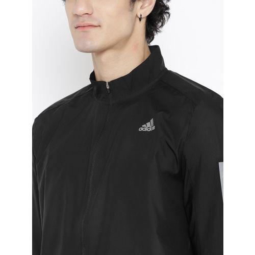 Adidas Men Black Solid Response Windcheater Running Jacket
