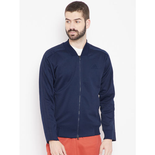 Adidas Men Blue Solid TRK Bomber Jacket