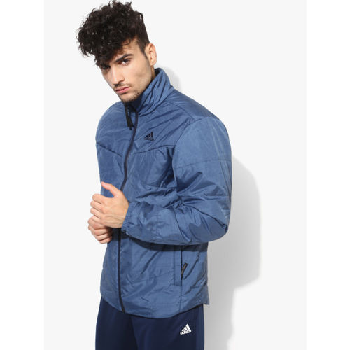 Adidas Bsc Insulated Blue Solid Quilted Jacket