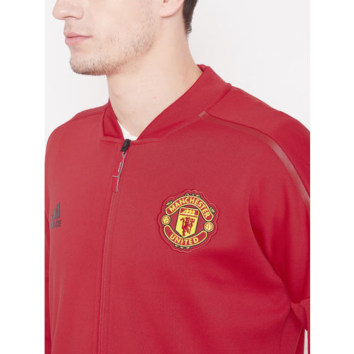 Adidas Men Red Solid Manchester United FC Z.N.E H Football Jacket