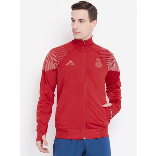 Adidas Men Red Real Madrid Icon Solid Lightweight Sporty Jacket