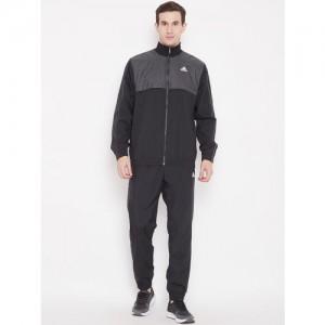 Adidas Men Charcoal Grey & Black MTS WV Ritual Colourblocked Sports Tracksuit