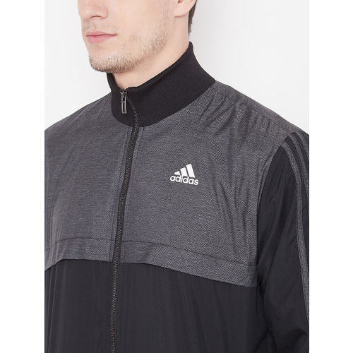 Adidas Men Charcoal Grey & Black MTS WV Ritual Colourblocked Sports Tracksuit