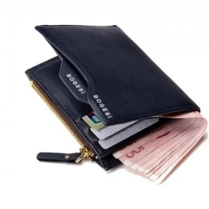 Bogesi Navy Blue Artificial Leather Solid Wallet